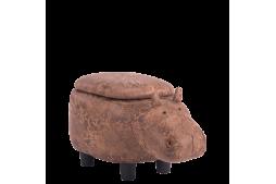 Детска табуретка с ракла - кафяв хипопотам