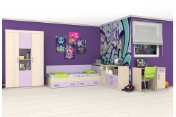 Детска стая АНДИ - пясъчен дъб / лилаво