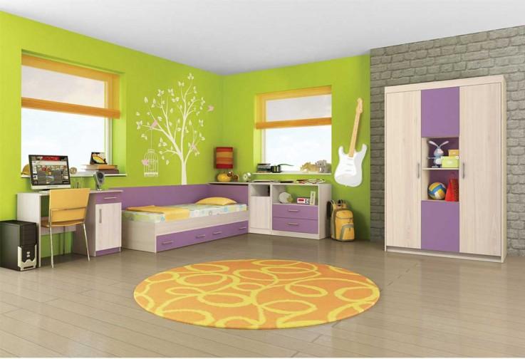 Детска стая АНДИ - пясъчен дъб / виолетово