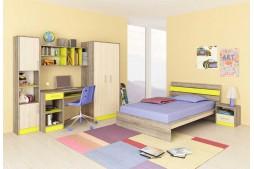 Детска стая ДЖЪСТИН - дъб вентура / пясъчен дъб / зелено