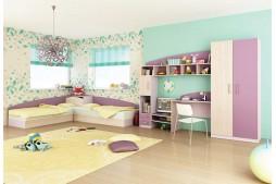 Детска стая ТОМАС - пясъчен дъб / лилаво /виолет