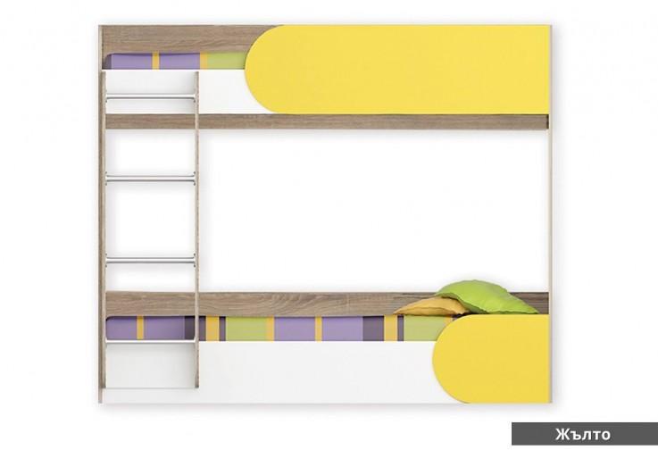 Двуетажно легло РИКИ тъмна сонома / бяло / жълто