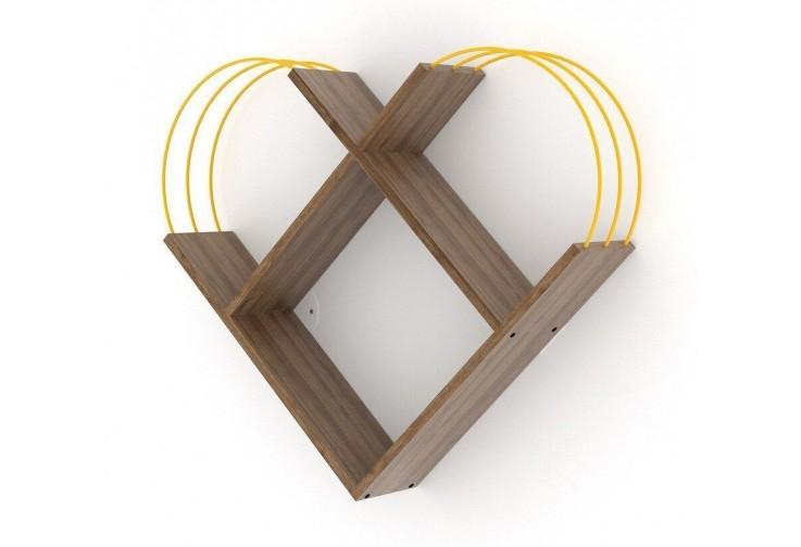 Етажерка Case сърце орех / жълто