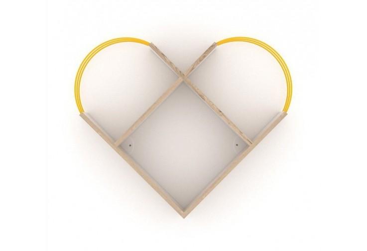 Етажерка Case сърце дъб / жълто