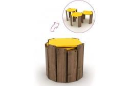 Комплект масички Hansel орех / жълто
