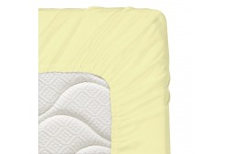 Долен чаршаф с ластик 70/140/16 см светложълто 100% памук
