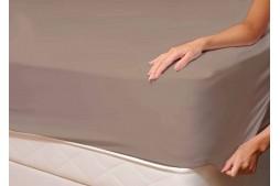 Долен чаршаф с ластик 90/200/25 см кафяво трико