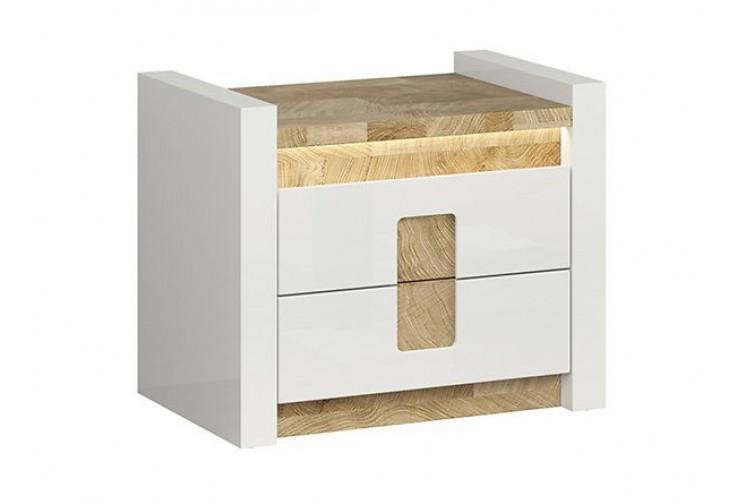Нощно шкафче ALAMEDA KOM2S бял гланц с LED осветление