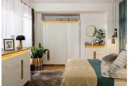 Спален комплект ALAMEDA бял гланц с LED осветление