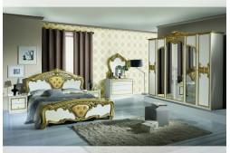 Спален комплект EVA бяло / златно с шесткрилен гардероб