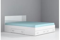 Легло с чекмеджета Аполо 10 160/200 бял гланц