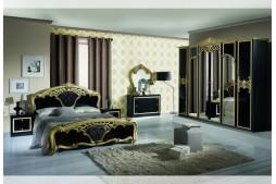 Спален комплект EVA черно / златно с шесткрилен гардероб