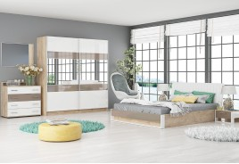 Спален комплект МОНЦА дъб елеганс / бяло гланц / капучино гланц