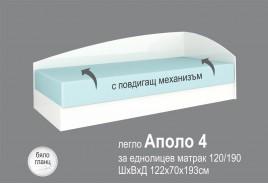 Легло АПОЛО 4 - Бял ГЛАНЦ