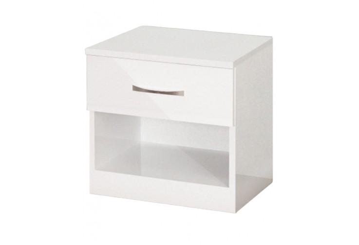 Нощно шкафче АПОЛО 1 бял гланц
