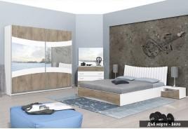 Спален комплект Сиена Н - Бяло и Дъб Норте
