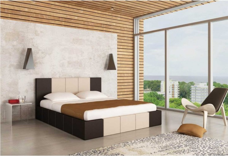 Тапицирано легло Казабланка - тъмен дъб мат и крем мат